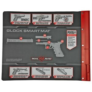 """Real Avid Smart Gun Cleaning Mat 43""""x16"""" With Parts Tray For GLOCK MSR Graphics"""