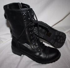 woman size 10 Black Lace Up Urban Military Combat Mid Calf Boots Zipper Entry