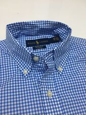 Ralph Lauren Men's Blue And White Tiny Check 100% Cotton Stretch shirt