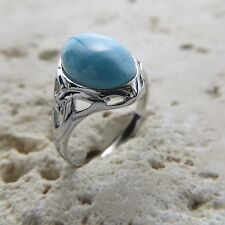 Size 9 1/2 (European Size 61) Size 9.5 Celtic Blue LARIMAR Ring 925 SILVER #0526