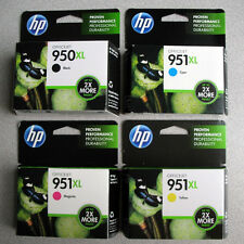 """NEW Genuine 4 PACK HP 950XL black + 951XL color INK """"No Boxes"""" FREE S&H!"""