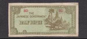 1/2 RUPEE VERY FINE BANKNOTE FROM JAPANESE OCCUPIED BURMA 1942 PICK-13