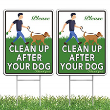 """Home Composer 2 Pack No Pooping Dog Signs for Yard, 12""""x9"""" Please Clean Up After"""