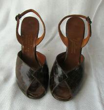 Vintage Alligator or Crocodile Peep Toe Shoes 40s sz 7.5 M C.H. Baker/ Galliano