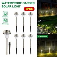 6 Pack Garden Outdoor Stainless Steel LED Solar Landscape Path Light Waterproof