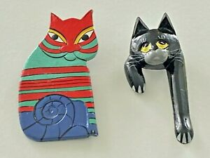 Brooch Lot of 2 Large Wooden Kitty CAT Brooches Hand Painted #47