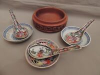 Chinese Set of one Rice/ Soup Wooden Bowl 3 Porcelain Saucers & 3 Spoons