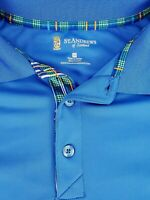 St Andrews of Scotland Mens Blue Short Sleeve Golf Polo Shirt Size Medium