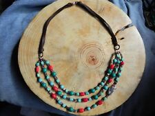 Peyote Bird~Turquoise Howlite, Coral, Shell, Sterling Silver & Leather Necklace