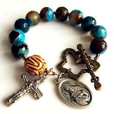 handmade oxen bone bead bule agate Catholic One Decade Rosary bracelet cross
