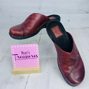 Clarks Artisan Women Maroon Red Leather Upper Slip On Low Heels Clog Shoe Sz 7 M
