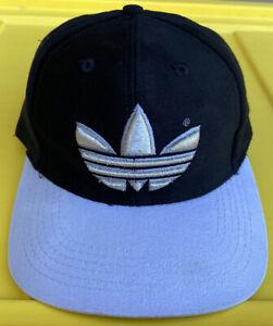 Vintage 90s Adidas Trefoil Black Gray 2 Tone SnapBack Hat Cap