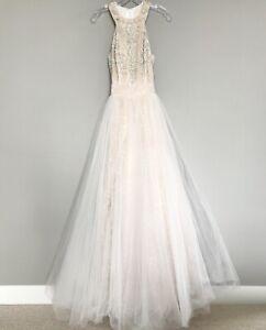 Sherri Hill Prom Dress Size 2 Nude/Beige & Cream