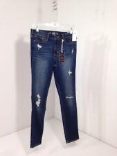 HOLLISTER WOMEN'S DESTROYED HIGH RISE SUPER SKINNY JEANS MID BLUE SZ 9 NWT $60