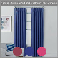 Pinch Pleat Blockout Curtain Pair Thermal Lined Blackout Drape BLUE