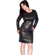 schwarzes Leder-Look KLEID* XL 48 weiches wetlook Minikleid* Partykleid glänzend