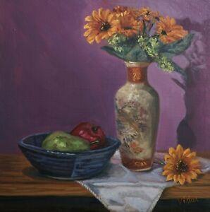 Original still life oil painting Sunflower, apple, pear by Chris Vidal