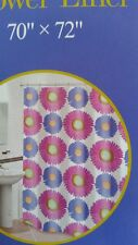 NIP HOME COLLECTION 100% EVA FLOWER POWER DAISIES SHOWER CURTAIN 70X72 PINK BLUE