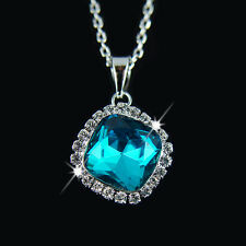18k white Gold GF with Swarovski crystals Diamond cut blue pendant necklace