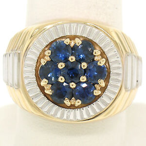 QUALITY Men's 14k Two Tone Gold 2.50ctw Round Sapphire Cluster Ribbed BOLD Ring