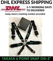 """TAKATA BLACK 6 Point Snap-On 3"""" With Camlock Racing Seat Belt Harness Universal"""