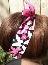 Dolly Bow Breast Cancer Awareness  Wired Rockabilly Hair Scarf Wire Headband