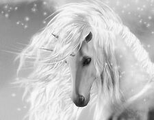 "Beautiful Fantasy Unicorn flowing mane gray *FRAMED* CANVAS ART  24x16"" horse"