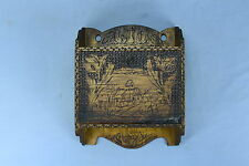Antique FLEMISH ART PYROGRAPHY HANGING CABINET CUPBOARD COUNTRY SCENE DOOR RARE