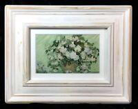 Vincent Van Gogh Irises Impressionist Still Life Painting Beautiful White Frame
