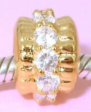 SOLID 9CT Yellow GOLD BEAD with 12pcs Bling Big CZ Fits European Charm Bracelet