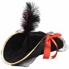 Women Pirate Hat Black Suede Effect with Feather - Fancy Dress Accessory