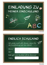 8 Einladungskarten zum Schulanfang Einschulung. 1 Schultag Einladung Tafel Karte