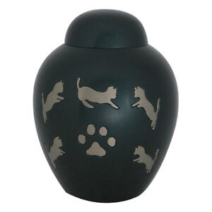 Dark Slate Black Dome Top Pet Funeral Urn for Creamation Ashes
