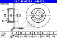 2x Bremsscheibe für Bremsanlage Vorderachse ATE 24.0116-0133.1