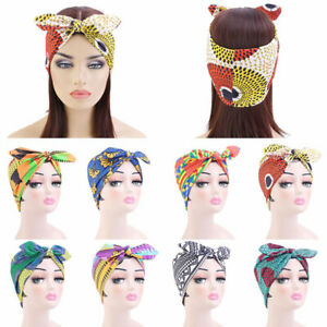 African Style Knotted Headband Elastic Bow Turban Hair Band Women Wide Headwear