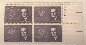 1962 4c Senator Brien McMahon Atomic Energy Act Stamps - Block of 4 Vintage Post