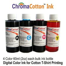 4 COLOR CMYK BULK Cotton INK REFILL FOR EPSON T-SHIRT Printer 100% COTTON