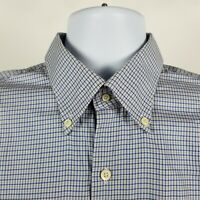 Peter Millar Mens Blue Beige Mini Check Dress Button Shirt Sz Large L