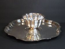 """International Silver Co Chippendale Set, Scalloped Serving Tray 13"""" w Sauce Bowl"""