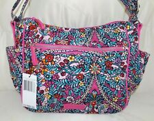 Vera Bradley Stitched Flowers Iconic on The Go Crossbody Shoulder Bag