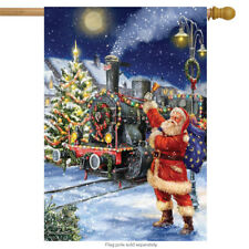 "Polar Express Christmas House Flag Santa Claus Train 28"" x 40"" Briarwood Lane"