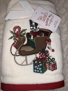 Sleigh Hill Set of 2 Christmas Hand Towels Boston Terrier Presents Holiday