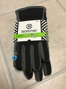 """Mens Isotoner gloves Black/Gray sz. MD NWT features """"smarTouch"""""""