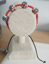Red Hemp Cord Macrame Adjustable Bracelet with Mexican Painted Clay Beads