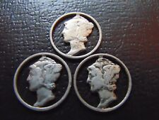 3 CUT OUT MERCURY DIMES / GREAT FOR JEWELRY / STK #7674