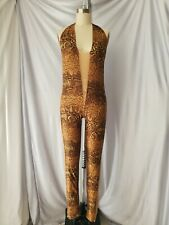 Vintage Unitard Showgirl Snakeskin Mesh Bodysuit Small Adult Spandex Dance Costu