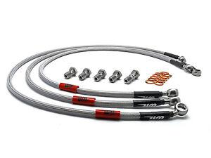 Pro Braking PBR8020-KAW-SIL Rear Braided Brake Line Kawasaki Green Hose /& Stainless Banjos