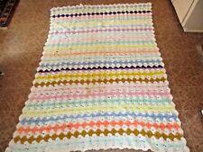 "Afghan Crocheted Lap Throw Blanket - Handmade Homemade 73"" x 50"", Estate Listing"