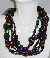 Vtg 6 strand Black Multi-color Lamp Work Foiled Art Glass Molded bead Necklace