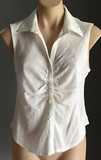 Vintage  White CITY 2000 Self Stripe Sleeveless Ruched Shirt/Blouse Size12
